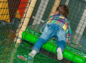 Crawling about at Dino Soft Play